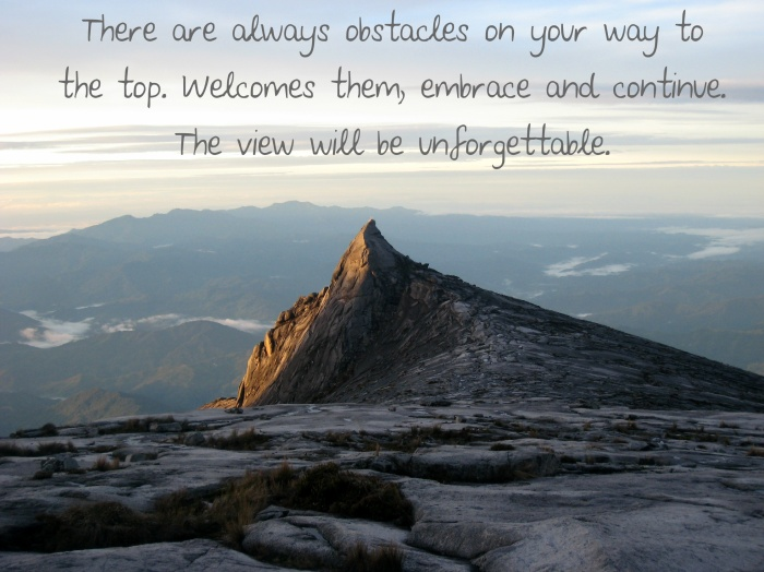 There are always obstacles on your way to the top