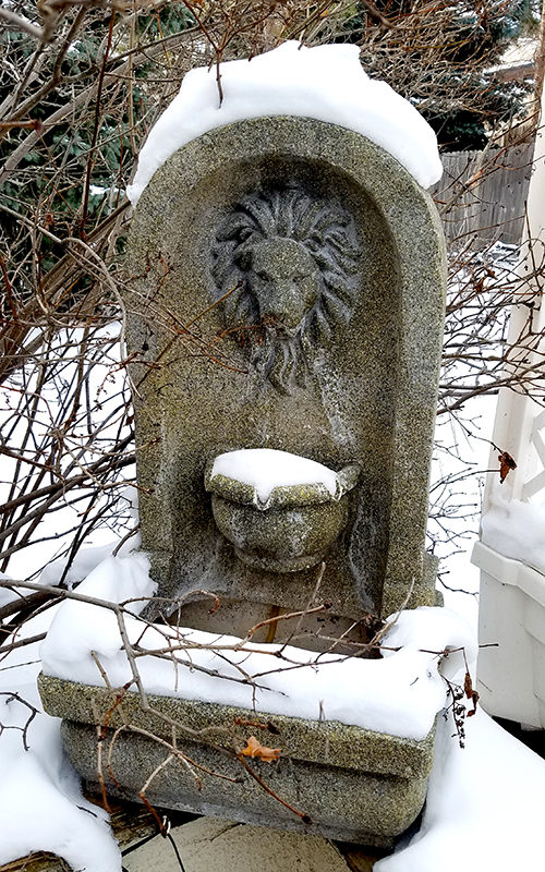 old fountains, defunct fountains, repurposed fountains or fountains asleep under a blanket of snow