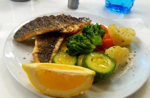 Fresh sea bass and steamed veggies