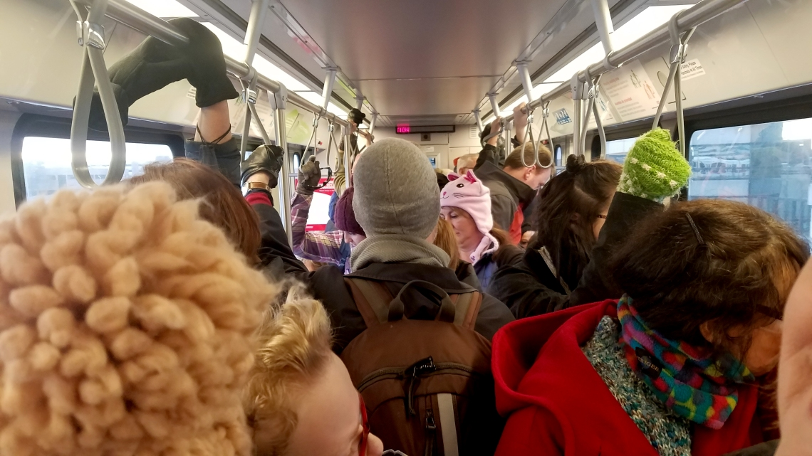On the way to the womens march via Light Rail